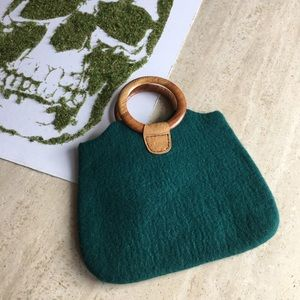 Vintage forest green wool wooden handled purse